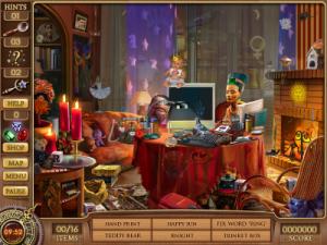 Ensimmäinen kuva-arvoitusnäkymä pelistä Cassandra's Journey: The Legacy of Nostradamus (Big Fish Games, 2008).