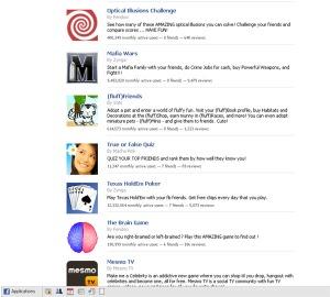 Esimerkkejä Facebook-sivustolla tarjolla olevista pelillisistä applikaatioista