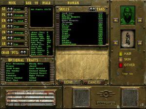 Hahmonluontityökalu Fallout Tactics -pleissä. Kuva Wikipediasta.
