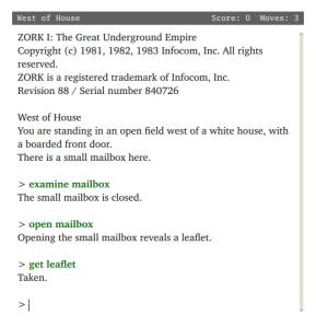 Zork I -pelin aloitus (1980). Kuvalähde: Wikipedia.