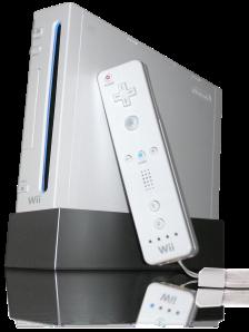 Nintendo Wii pelikonsoli ja sen kaukosäätimen kaltainen peliohjain.